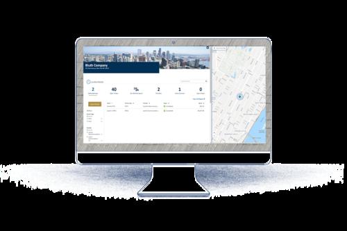 Bildschirm mit Auswertung & Landkarte