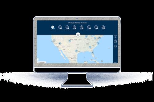 Bildschirm mit Landkarte