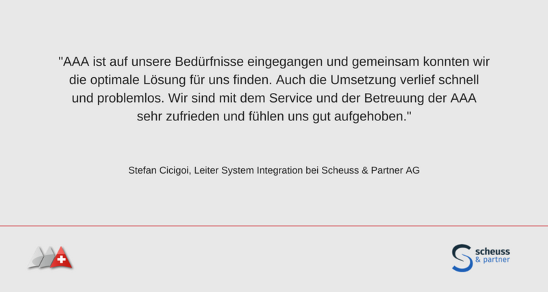 Referenzschreiben Scheuss & Partner AG